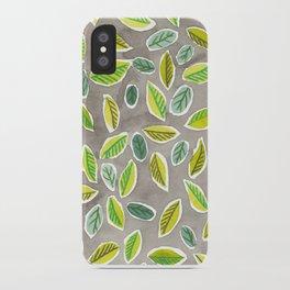 Leaf Watercolor Pattern by Robayre iPhone Case