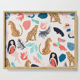 Summer Girls & Cheetah Pattern Serving Tray