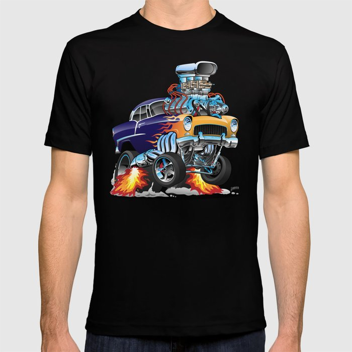 Classic Fifties Hot Rod Muscle Car Cartoon T-shirt