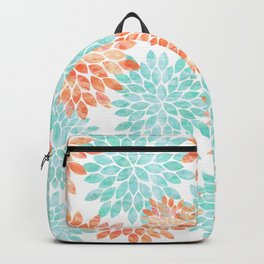 aqua and coral flowers Backpack