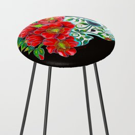 Sugar Skull with Red Poppies Counter Stool