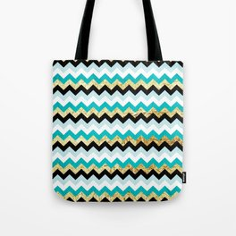 Black, Teal, and Gold Chevron Pattern Tote Bag