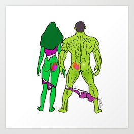 Superhero Butts Love 5 - Green Art Print