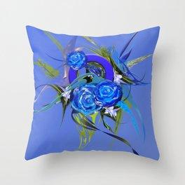 Blue flower blue by Mia Niemi Throw Pillow
