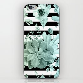 Simply Succulent Garden Striped in Turquoise Green Blue Gradient iPhone Skin