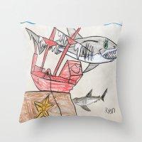 nursery Throw Pillows featuring Shark Nursery by Ryan van Gogh