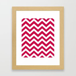 Spanish carmine - fuchsia color - Zigzag Chevron Pattern Framed Art Print