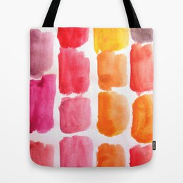 Strawberry Squares - red, orange, yellow, purple Tote Bag