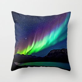 A Spectacle Of Polar Lights | Oil Painting Throw Pillow