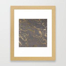 Modern Grey cement concrete gold marble pattern Framed Art Print