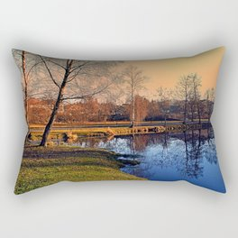 Winter mood on the river IV | waterscape photography Rectangular Pillow