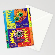 Crayon drawn Monsters Stationery Cards
