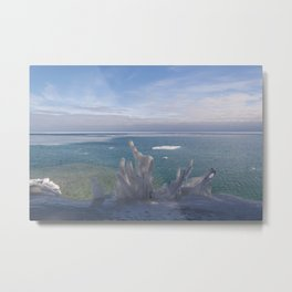 Cave Point Icicle Tree Metal Print