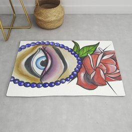 Eye with Rose Neotraditional Tattoo. Rug