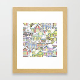 Victorian Snow Houses Framed Art Print