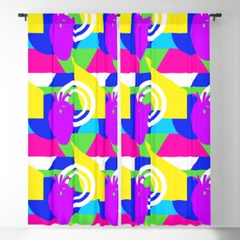 80s colorblock heart Blackout Curtain