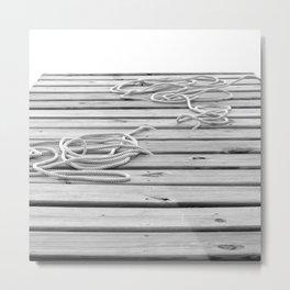 dock, black and white Metal Print