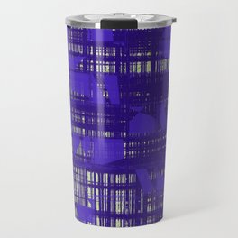 Blue random shapes hovering all over the blue messy lines above white background Travel Mug