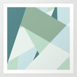 Modern abstract beach color block geometric stripes blue green pattern Art Print