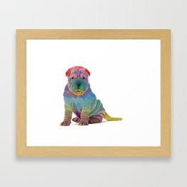 Colorful Sharpei Framed Art Print