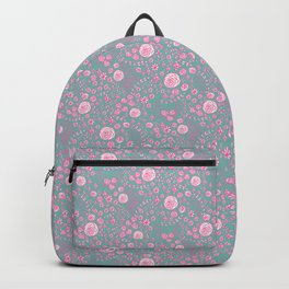 Abstract pink garden pattern in cian background Backpack