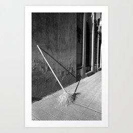 Shadow and Light - Broom on Mausoleum, Argentina  Art Print