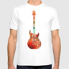 Electric Guitar 2 - Buy Colorful Abstract Musical Instrument SMALL White Mens Fitted Tee