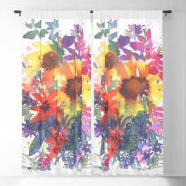 Rainy Day Sunflowers Blackout Curtain