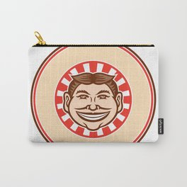 Grinning Funny Face Mascot Circle Retro Carry-All Pouch