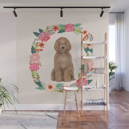 labradoodle floral wreath dog breed pet portrait pure breed dog lovers Wall Mural