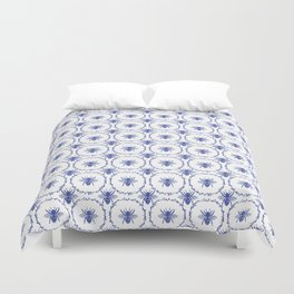 Vintage Shabby Chic Bees in Laurel Wreaths in Delft China Blue Duvet Cover