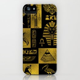 Egyptian  Gold hieroglyphs and symbols collage iPhone Case