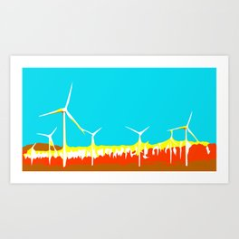 wind turbine in the desert with blue sky Art Print