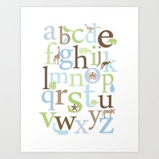 Alphabet Animals - Brody colorway Art Print