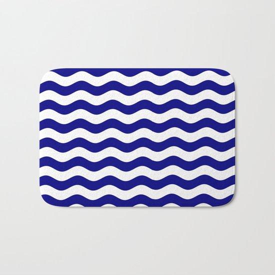 Wavy Stripes (Navy Blue/White) Bath Mat