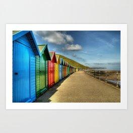 Whitby Beach Huts Art Print