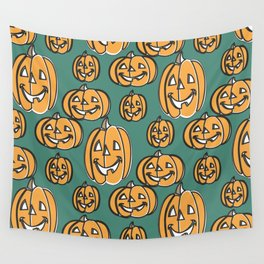 Cheerful Pumpkin Heads Wall Tapestry