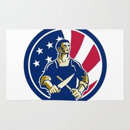 American Butcher USA Flag Icon Rug