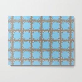 Blue and Brown Lattice Metal Print
