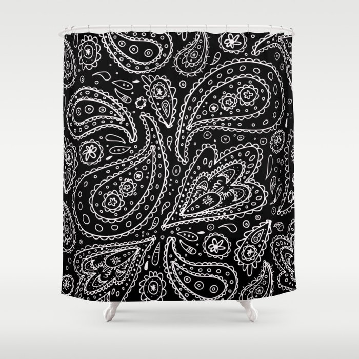 Classic Black And White Paisley Shower Curtain