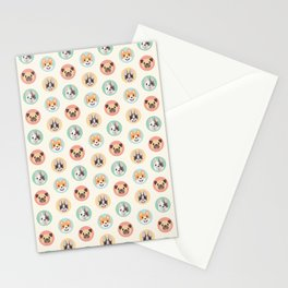 Circle Pup Pattern Stationery Cards