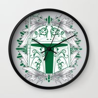 boba Wall Clocks featuring Boba Tatt by Matthew Bartlett