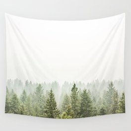 arial forest print, tree top print, wall art, woodland print, forest print, arial fog tree phoo Wall Tapestry