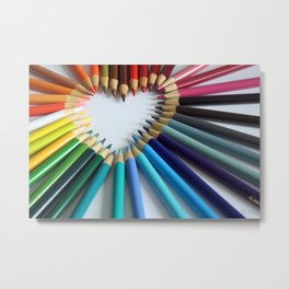 A Heartful of Pencils Metal Print