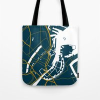 denmark Tote Bags featuring Copenhagen Denmark Map by Studio Tesouro