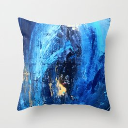 Vortex: a vibrant, blue and gold abstract mixed-media piece Throw Pillow