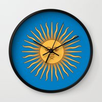 argentina Wall Clocks featuring argentina flag sun by ArtSchool
