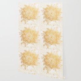 Queen Starring of Mandala-Gold Sunflower II Wallpaper