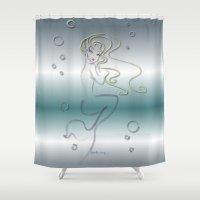 siren Shower Curtains featuring Siren by AmadeuxArt