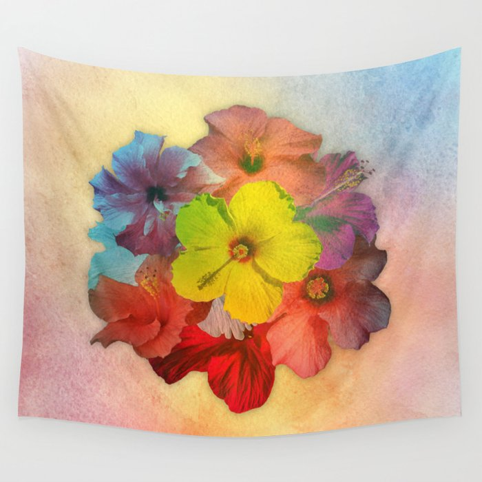 Colorful Hibiscus Bouquet Wall Tapestry